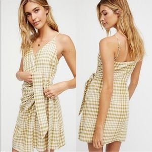 Free People gingham green wrap dress